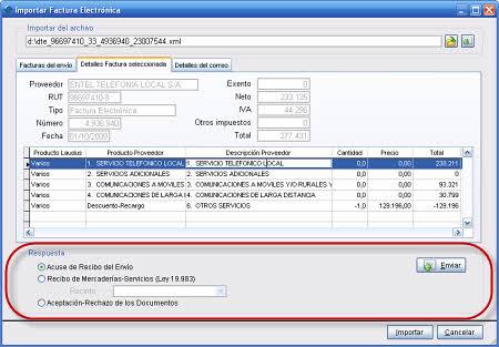 Posibles Respuestas a un Envío de DTE de Proveedores