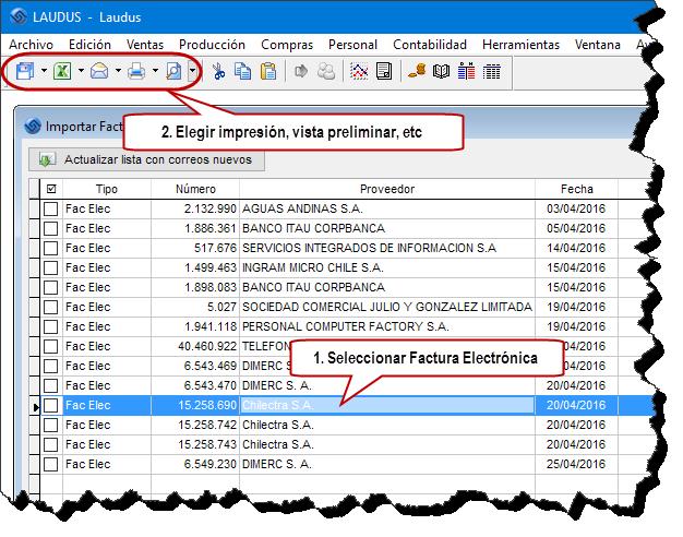 Factura Electrónica Impresa-Proveedor Pantalla Importar