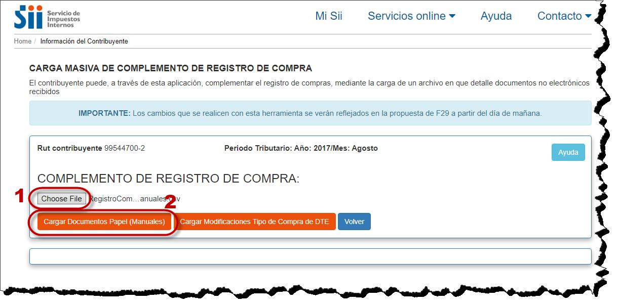 Registro Compras, documentos no electrónicos