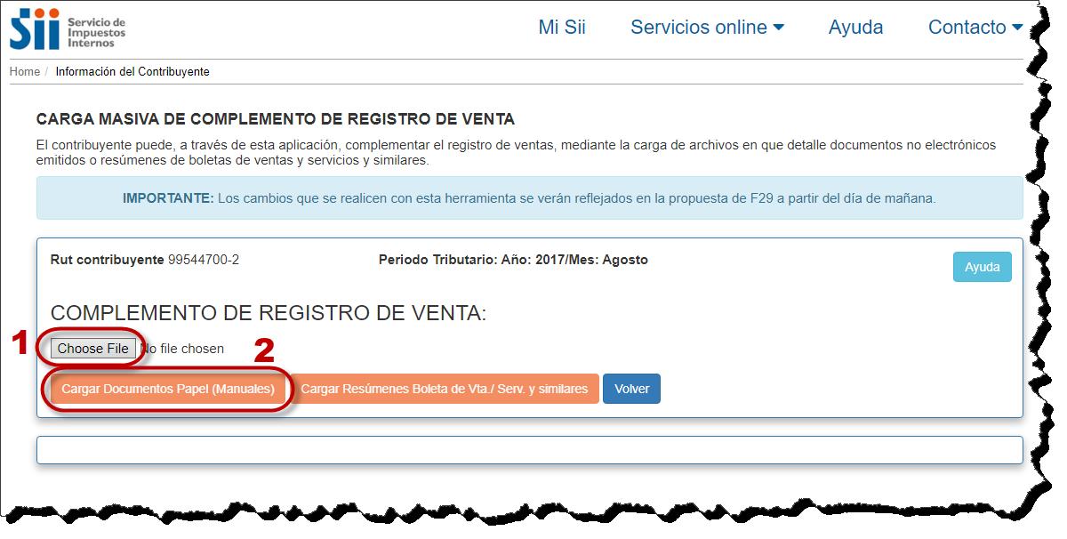 Registro Ventas, documentos no electrónicos