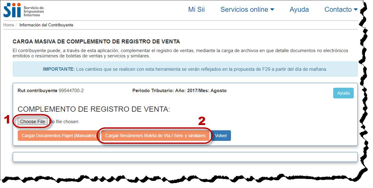 Registro de Ventas, resumen de boletas
