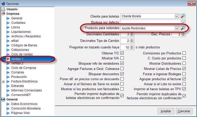 Software Ventas - Opciones producto redondeo