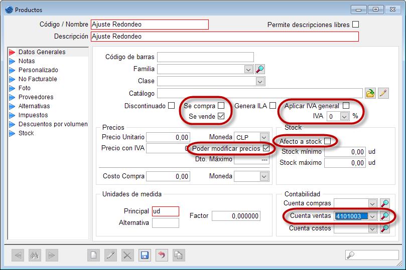 Software contable, Datos producto ajuste por redondeo
